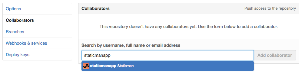 Adding staticmanapp to the Site's GitHub Repository